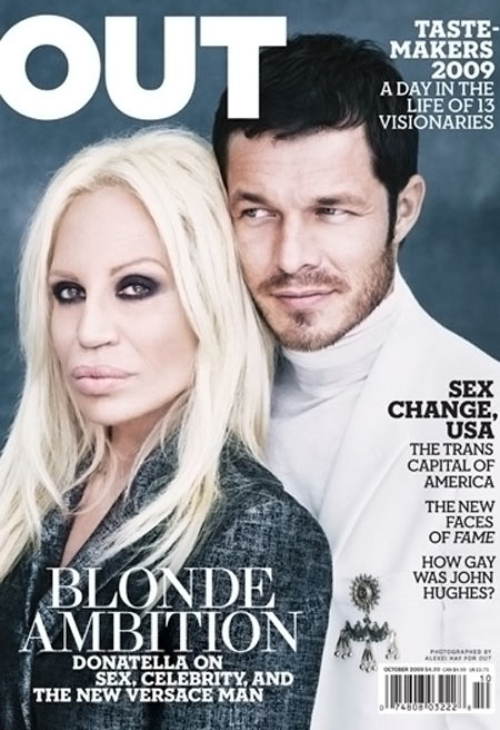 Donatella Versace Out Magazine cover October 2009