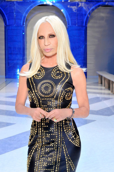 Donatella Versace wearing H and M dress