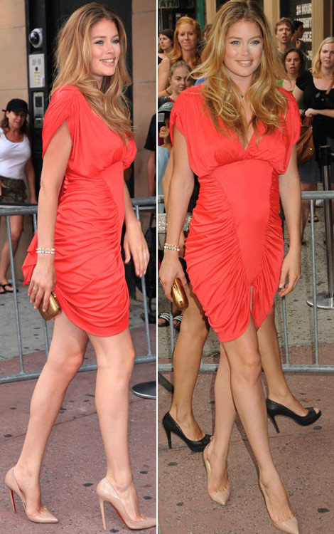 Doutzen Kroes Baby Bump orange dress