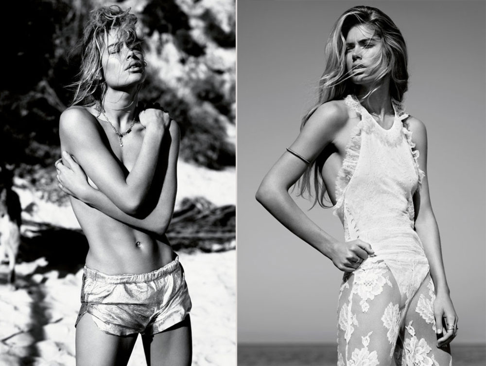 Doutzen Vogue UK beach castaway
