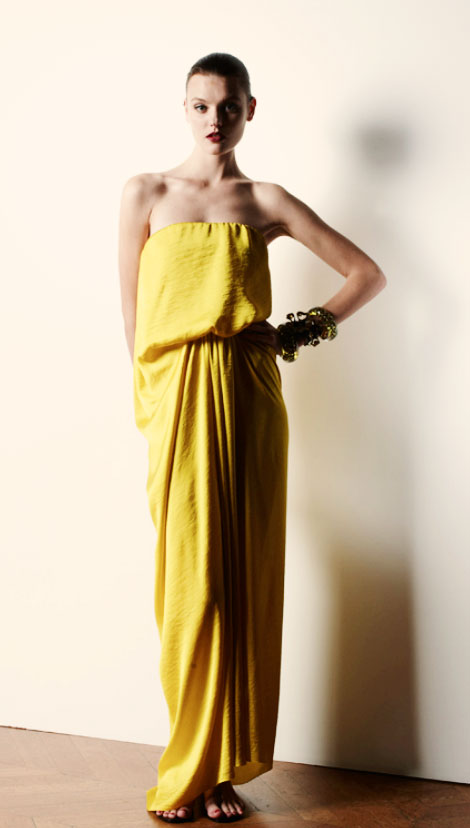 draped yellow dress Lanvin Resort 2013 Lanvin Resort 2013 Collection Structured, Pleated, Shiny