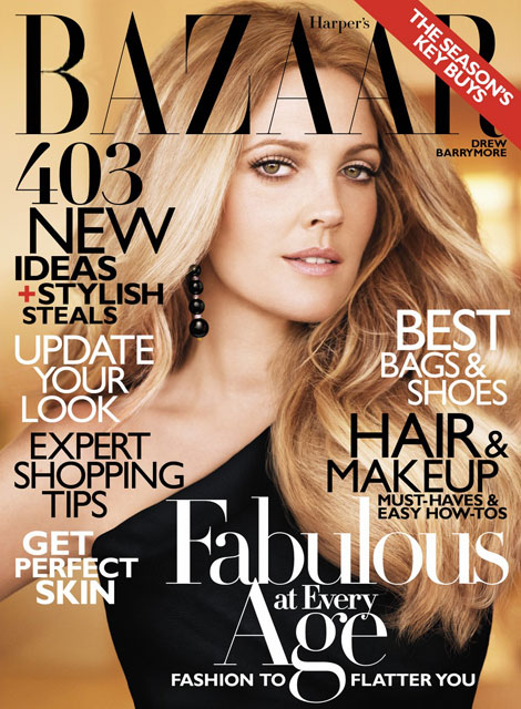 Drew Barrymore Harper s Bazaar October 2010 cover