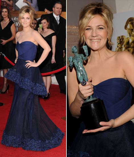 Drew Barrymore's Monique Lhuillier Blue Dress For 2010 SAG Awards