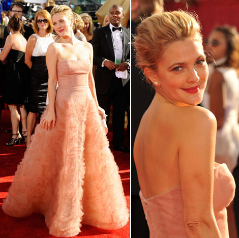 Drew Barrymore Monique Lhuillier dress Emmy Awards 2009