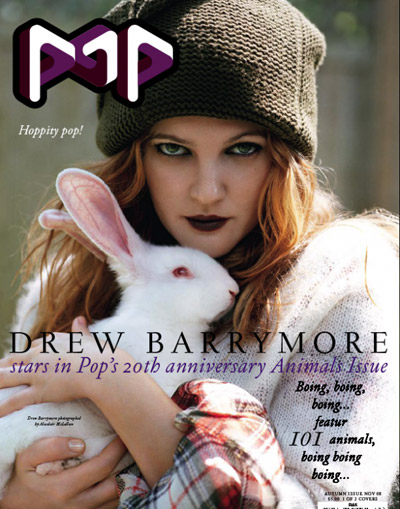 Drew Barrymore Pop magazine November animals issue cover