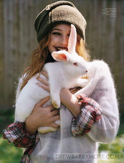 Drew Barrymore Pop magazine November animals issue rabbits
