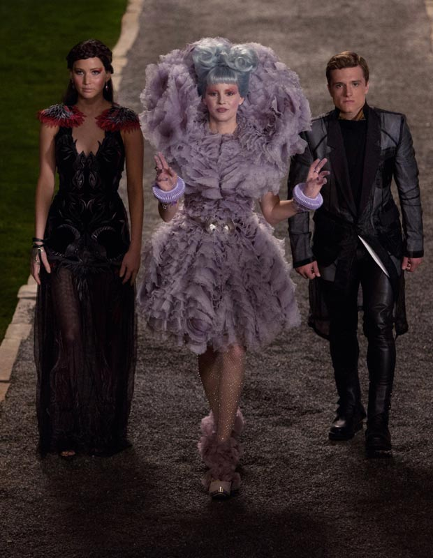 Effie Trinket Hunger Games lavender McQueen dress