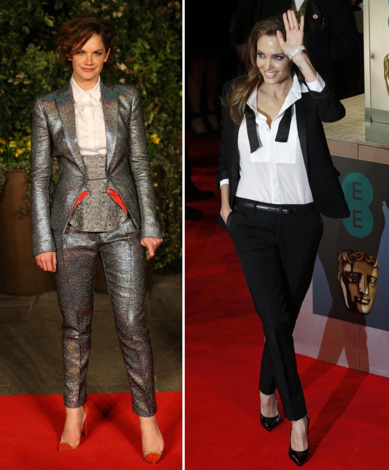 elegant suits red carpet Ruth Wilson Angelina Jolie