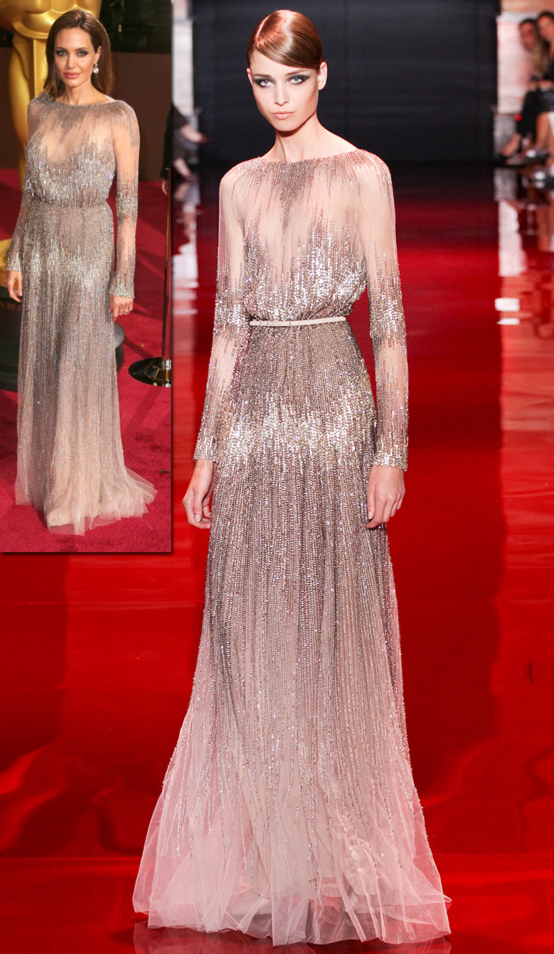 Elie Saab fall 2013 Couture dress worn by Angelina Oscars 2014