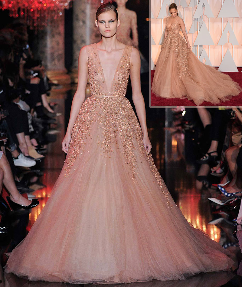 Elie Saab fall14 Couture dress as seen on JLo Oscars 2015