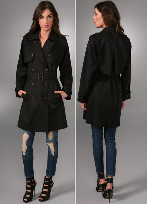 Elizabeth and James Convertible Trench coat black