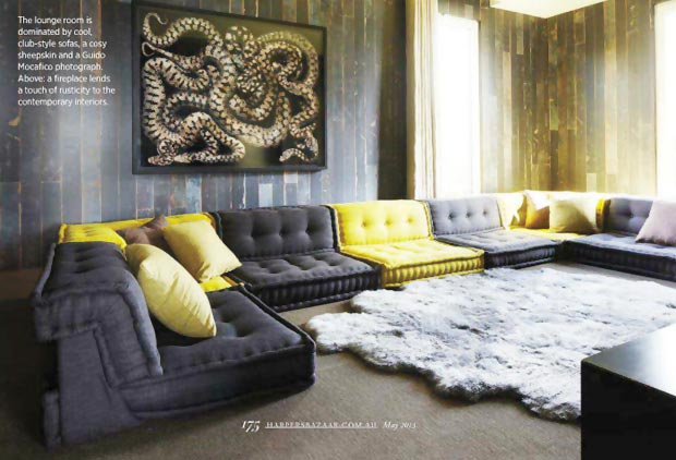 Elle MacPherson home in Cotswolds couch