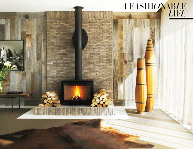 Elle MacPherson home in Cotswolds fireplace