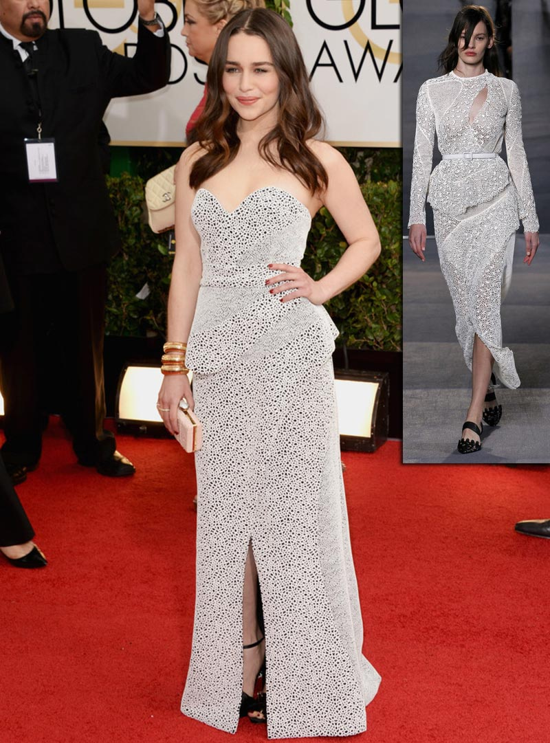 Emilia Clarke dress Golden Globes 2014 Proenza Schouler