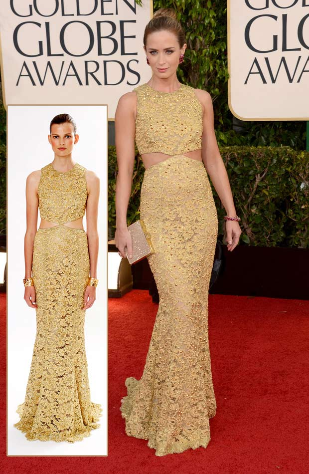 Emily Blunt Michael Kors golden dress 2013 Golden Globes
