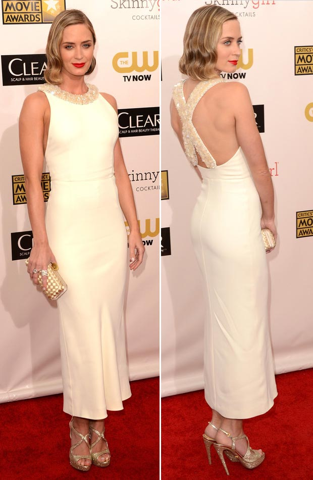 Emily Blunt Miu Miu white dress Critics Choice Awards 2013