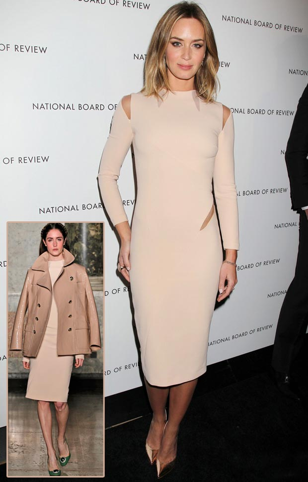 Emily Blunt Pucci cutout beige dress NBR Awards 2013