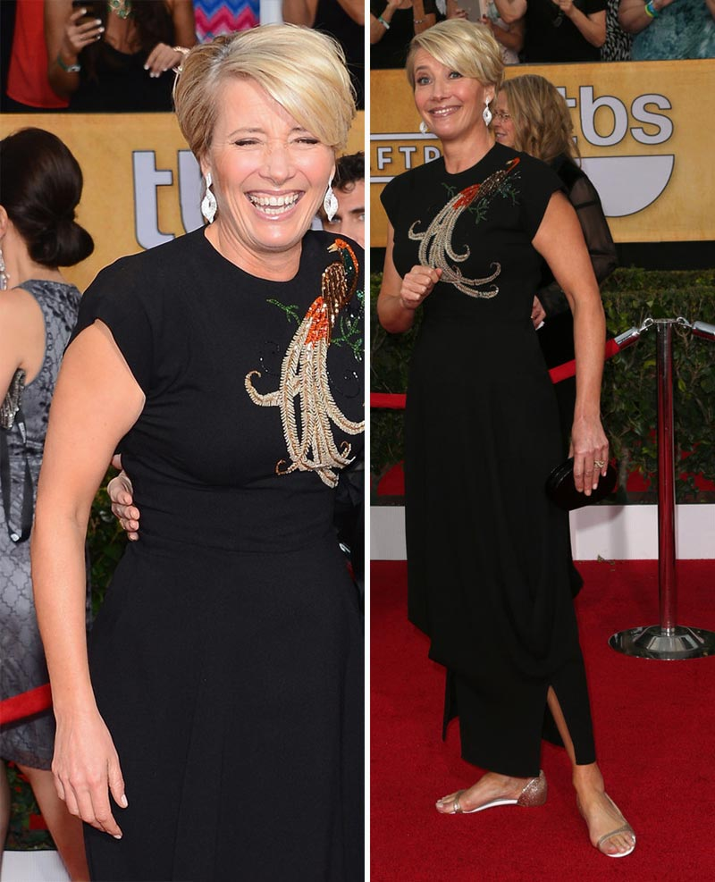 Emma Thompson black dress flat sandals 2014 SAG Awards