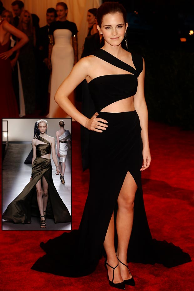 Emma Watson cutout black dress 2013 Met Gala