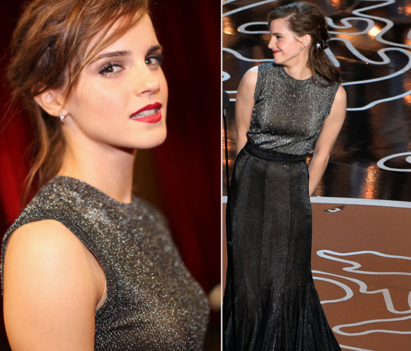 Emma Watson dress beauty hair 2014 Oscars