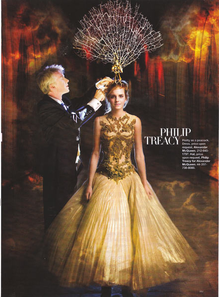 Emma Watson Harpers Bazaar October 2008 in Philip Treacy