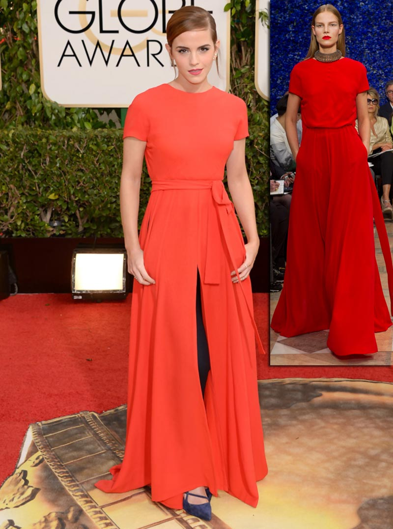Emma Watson red Dior dress Golden Globes 2014