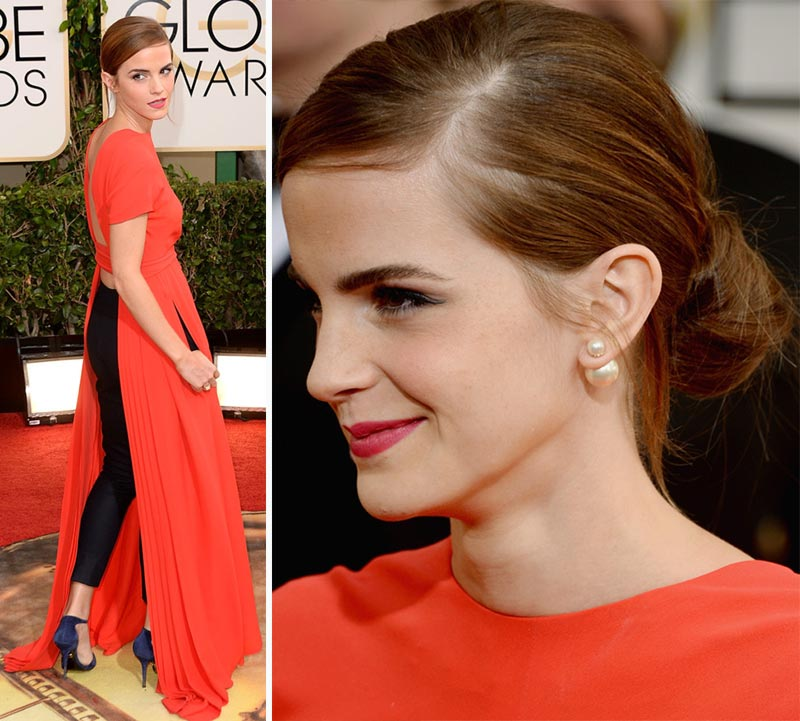 Emma Watson red Dior HC dress Golden Globes 2014