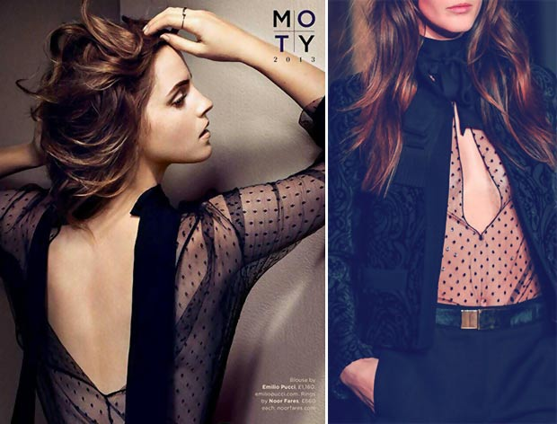Emma Watson wears black Pucci blouse fall 2013