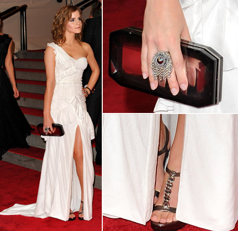 Emma Watson White Burberry dress Met Gala 2010 details