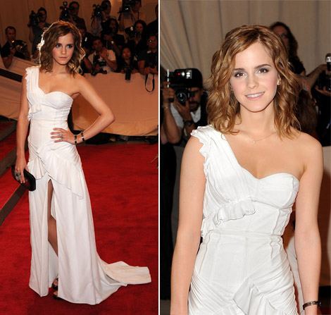 Emma Watson In White Burberry Dress At Met Gala 2010