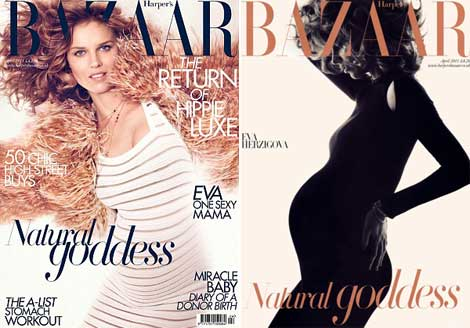 Pregnant Eva Herzigova Covers Harper&#8217;s Bazaar UK April 2011