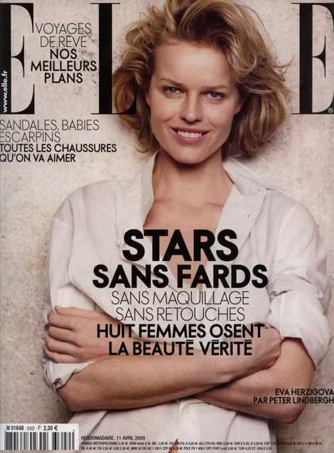 eva herzigova without makeup elle cover