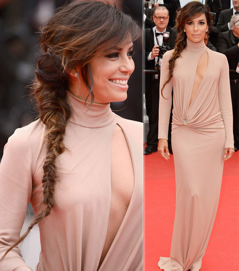Eva Longoria Cannes Red Carpet Vionnet beige dress