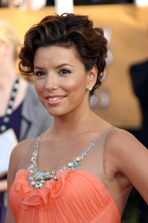 Eva Longoria In Peachy Jenny Packham Dress At 2009 SAG Awards