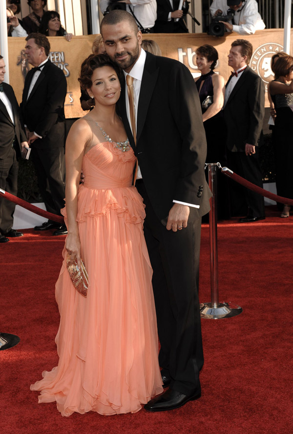 Eva Longoria Jenny Packham peach dress 2009 SAG awards Tony Parker