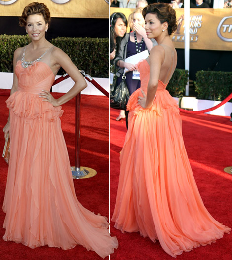 Eva Longoria Jenny Packham peach dress 2009 SAG awards