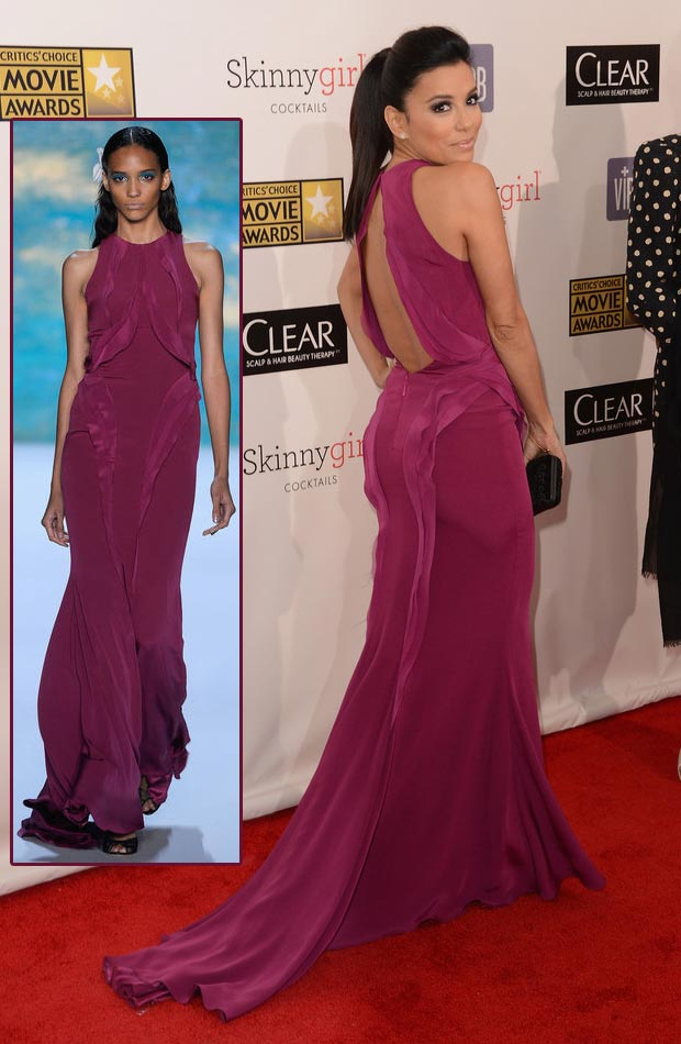 Eva Longoria Monique Lhuillier purple dress Critics Choice Awards 2013