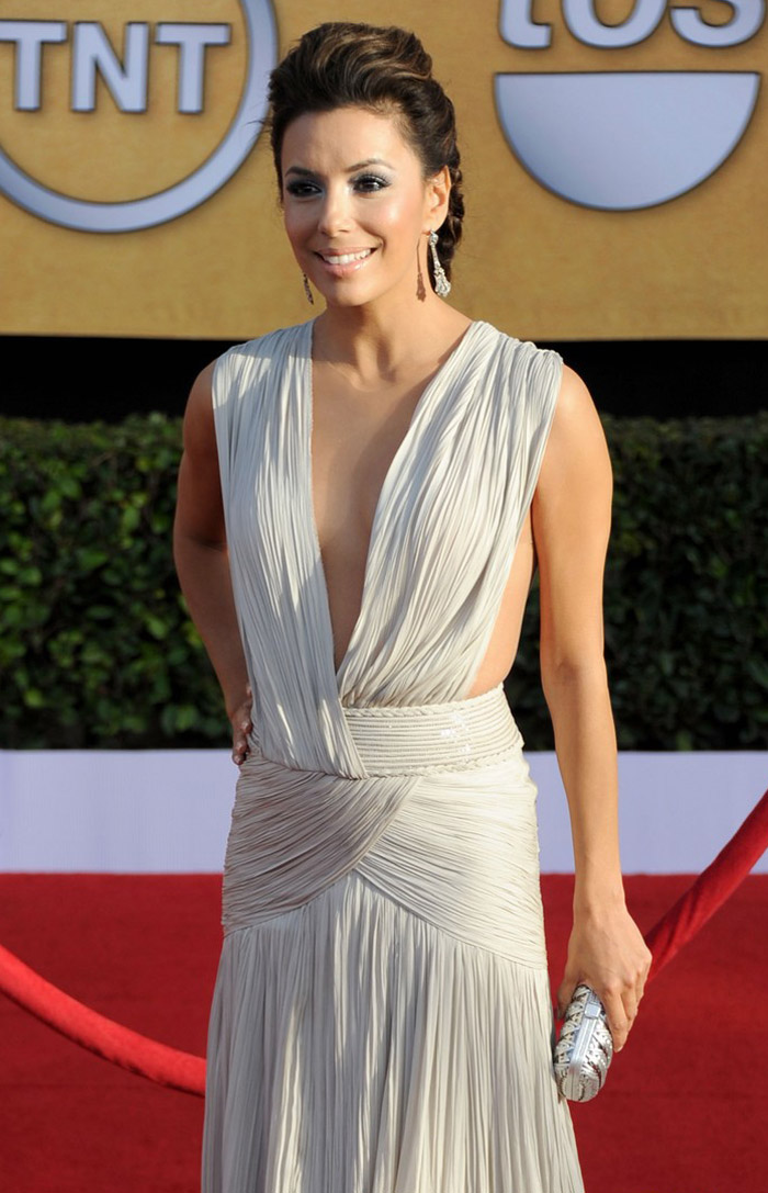 Eva Longoria white Georges Hobeika dress 2011 SAG Awards 1