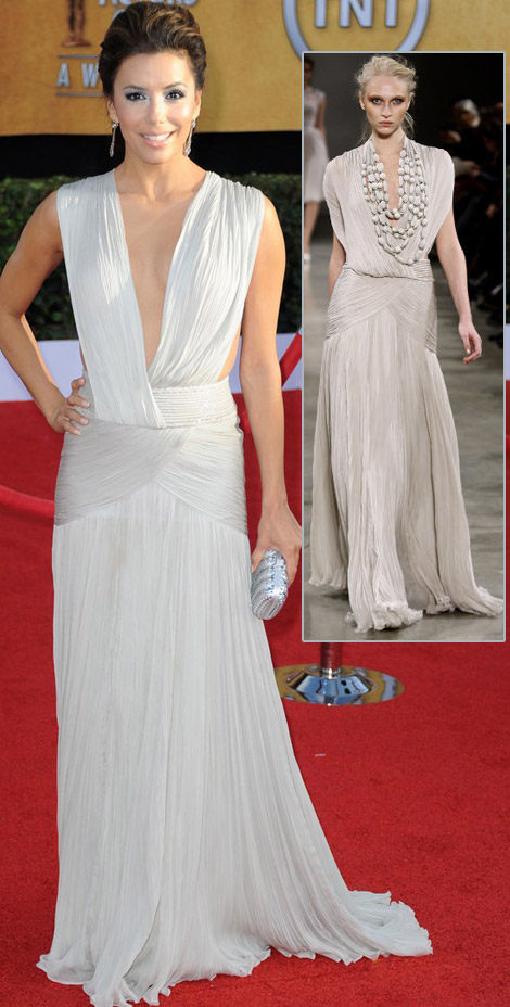 Eva Longoria White Georges Hobeika dress 2011 SAG Awards