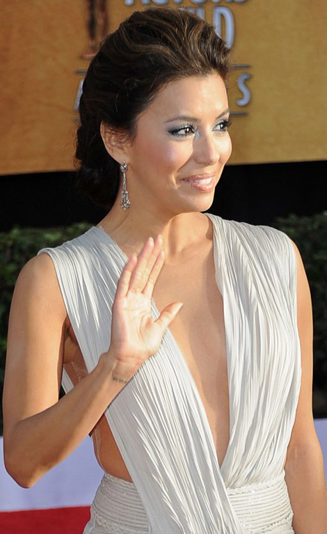 Eva Longoria white Hobeika dress 2011 SAG Awards