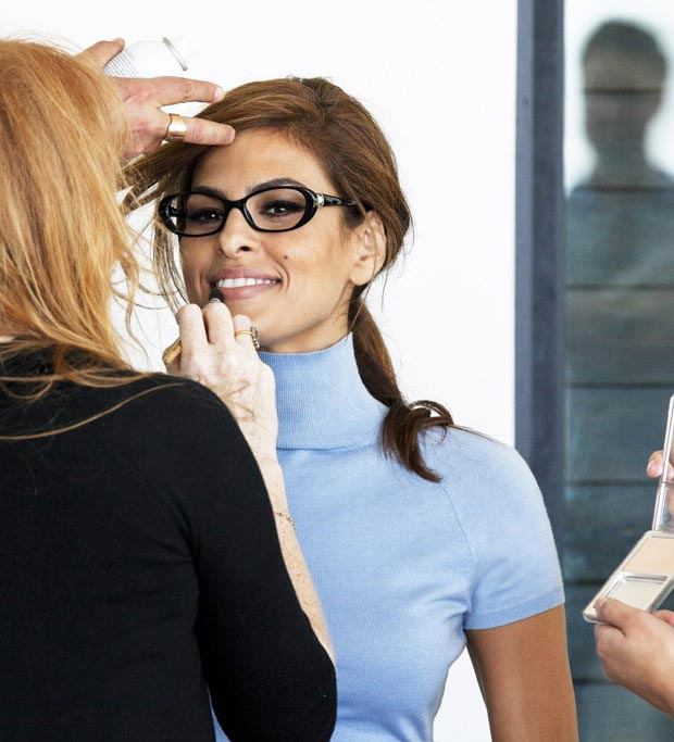 Eva Mendes Vogue Eyewear 2013 campaign shooting