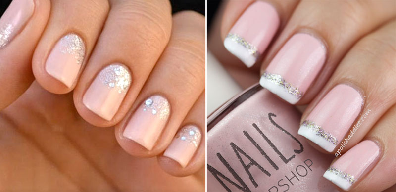 examples of nails with neutral polish and silver glitter