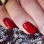examples of red nails and silver glitter