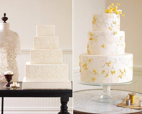 fabric inspired wedding cakes lace