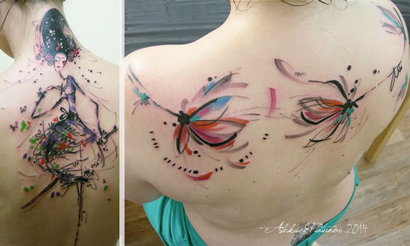 fabulous feminine tattoo watercolor drawings Aleksey Platunov