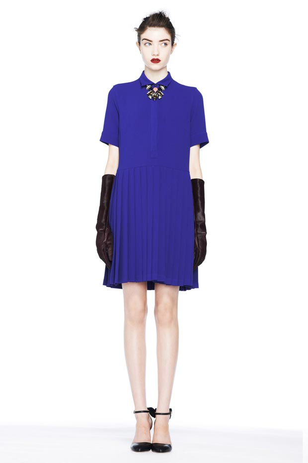 fall 2013 inspiration blue pleated dress JCrew