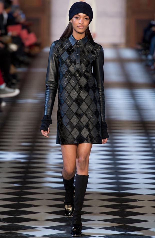 Fall Leather Checkered Dress
