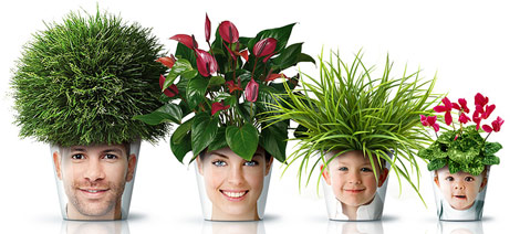 Family face print flower pots
