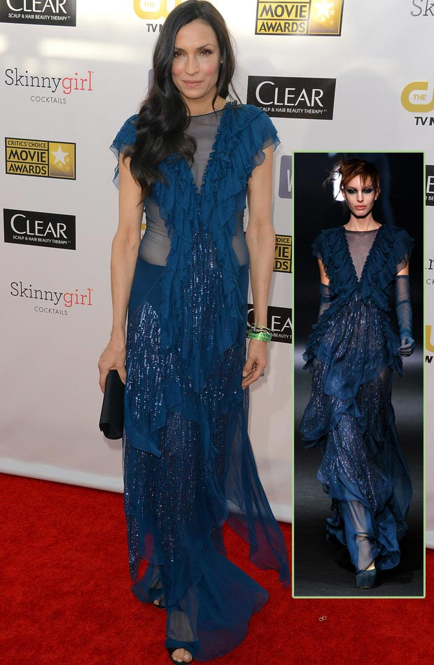 Famke Janssen John Galliano blue dress Critics Choice Awards 2013