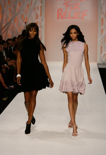 Naomi Campbell and Chanel Iman wearing Azzedine Alaia dresses